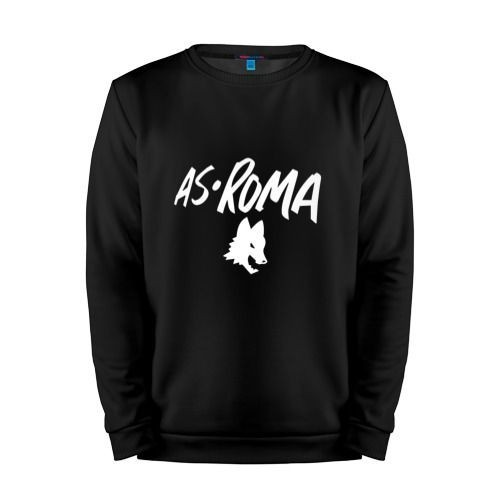 Мужской свитшот хлопок «A S Roma - White Graphic» black
