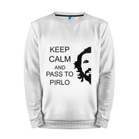 Мужской свитшот хлопок «Keep calm and pass to Pirlo» white